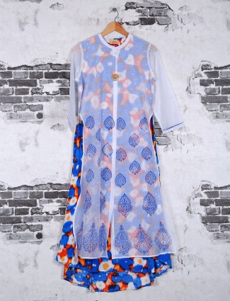 Cotton kurti in blue and white color
