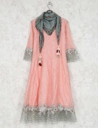 Cotton kurti in peach color