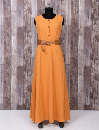 Light orange cotton long kurti
