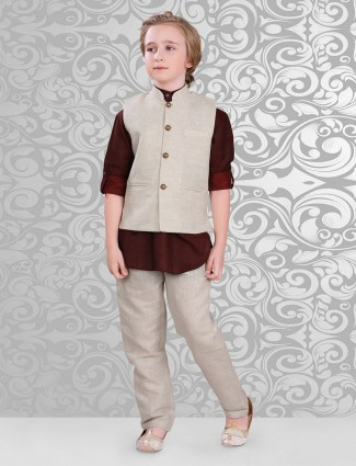 Cotton maroon beige waistcoat set