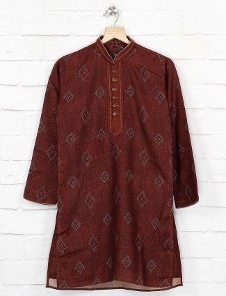 Cotton maroon hue simple kurta suit