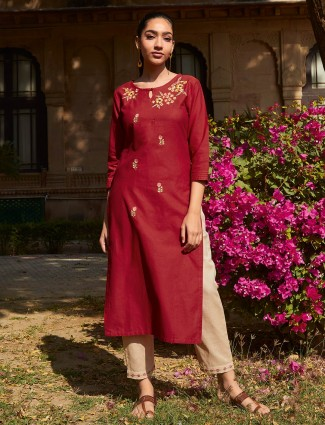 Cotton maroon punjabi pant suit for festive