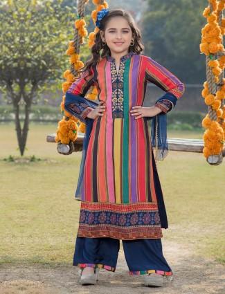 Cotton multicolor punjabi palazzo suit