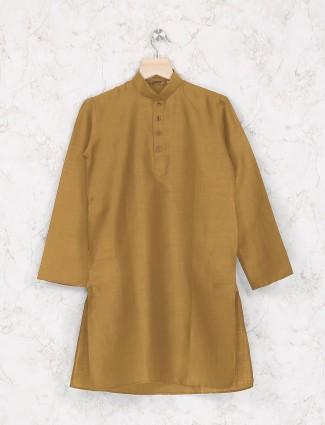 Cotton mustard yellow festive kurta suit
