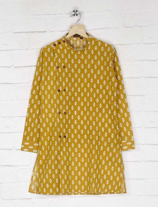 Cotton mustard yellow printed kurta suit