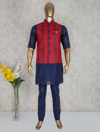 Cotton navy and red stripe style waistcoat set
