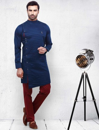 Cotton navy color pleats style kurta suit