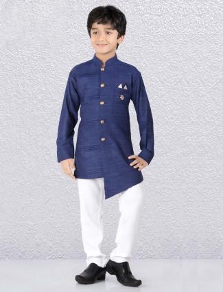 Cotton navy hue pleates kurta suit