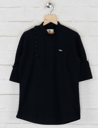 Cotton navy hued solid kurta