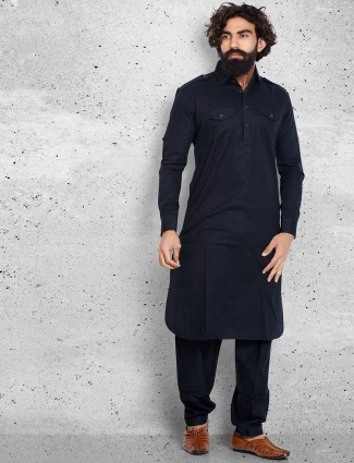 Cotton navy plain pathani suit