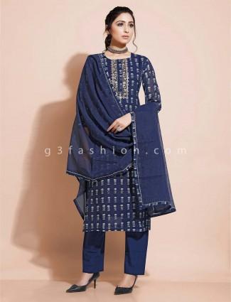 Cotton navy salwar suit for festivals