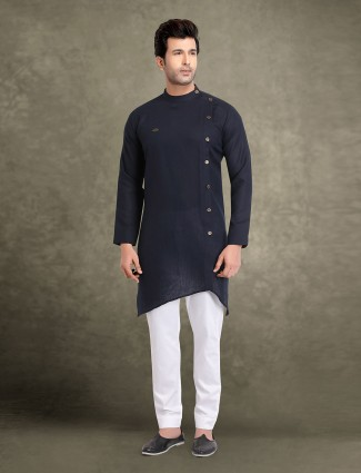 Cotton navy stunning mens solid kurta suit