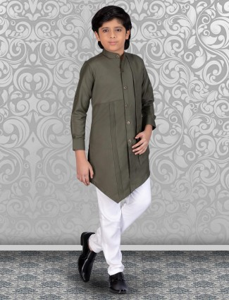 Cotton olive solid kurta churidar for boys