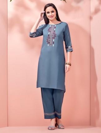 Cotton pant style salwar suit design in light blue