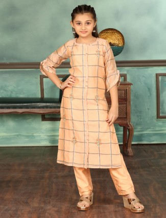 Cotton peach festive punjabi pant suit