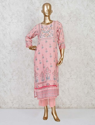 Cotton pink casual pant suit in printed design