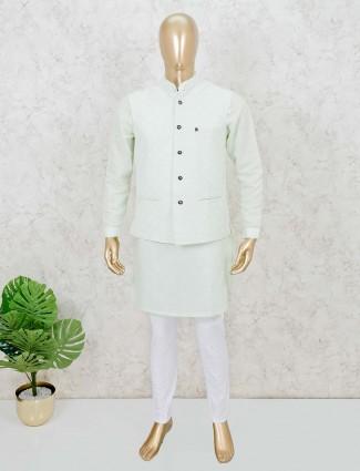 Cotton green waistcoat kurta set for mens