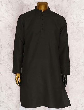 Cotton plain black kurta suit