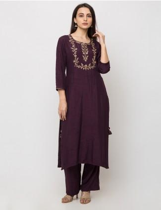 Cotton purple punjabi pant suit set