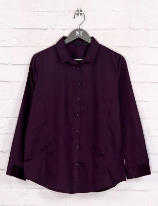 Cotton purple solid casual shirt