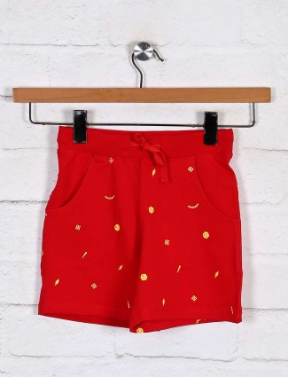 Cotton red casual wear shorts