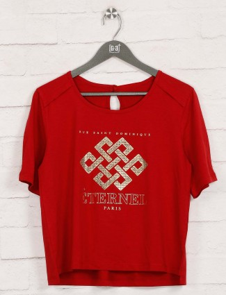 Cotton red foil printed round neck top