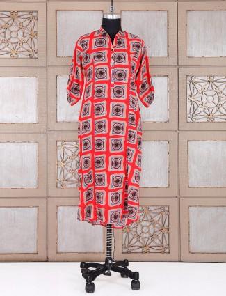 Cotton red printed kurti