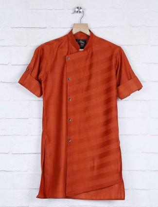 Cotton rust orange color straight hem kurta