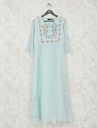 cotton Sea green kurti for festive wear