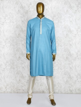 Cotton silk aqua kurta suit