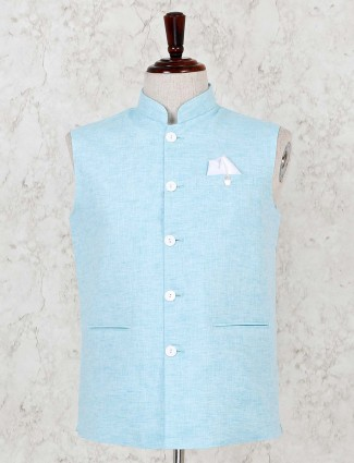 Cotton linen aqua solid waistcoat in party