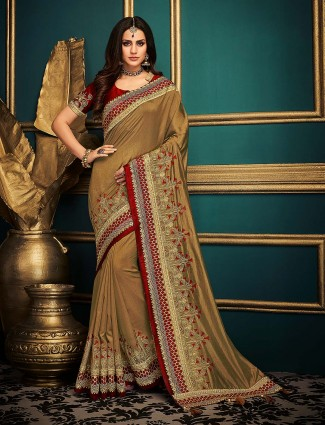 Cotton silk beige color festive saree