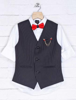 Cotton silk black and white stripe waistcoat set