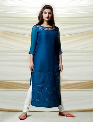 Cotton silk blue festive kurti