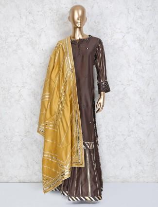 Cotton silk brown punjabi sharara suit in festive