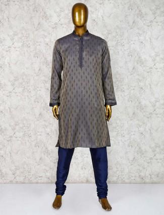 Cotton silk dark grey hue kurta suit