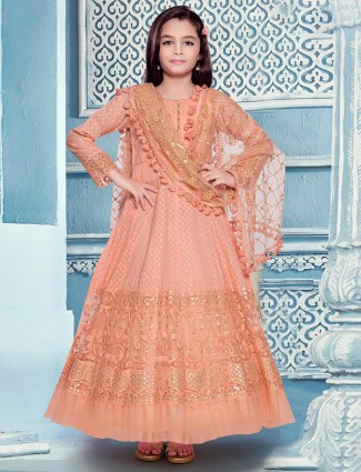 Cotton silk designer peach anarkali suit