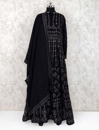 Cotton silk fabric black color floor length anarkali salwar suit