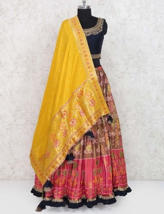 Cotton silk fabric brown color lehenga choli