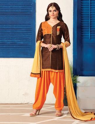Cotton silk fabric brown salwar suit