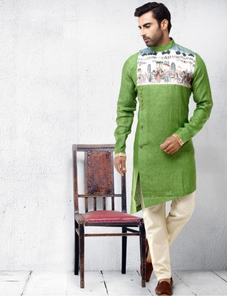 Cotton silk fabric light green kurta suit