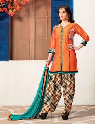 Cotton silk fabric orange salwar suit