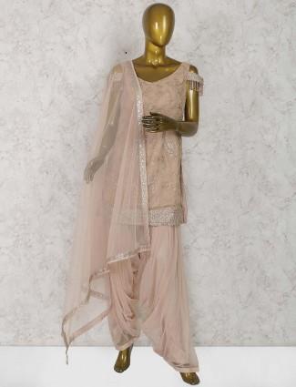 Cotton silk fabric peach hue punjabi salwar suit
