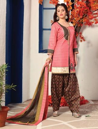 Cotton silk fabric pink salwar suit