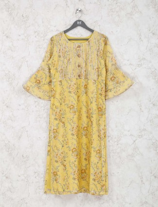 Cotton silk fabric yellow hue printed kurti