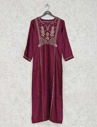 Cotton silk festive purple kurti tunic