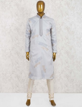Cotton silk grey hued kurta suit fot party