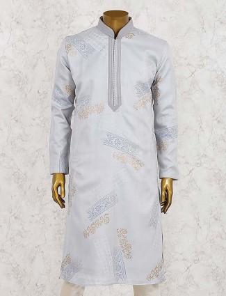 Cotton silk grey hued kurta suit fot party