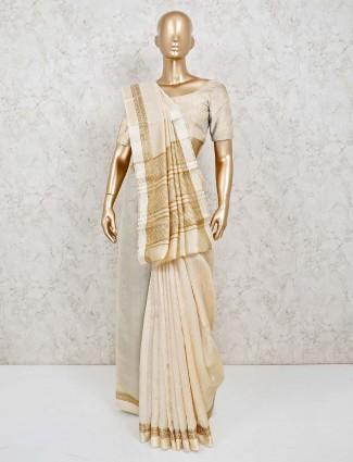 Cotton silk jacquard design saree in cream