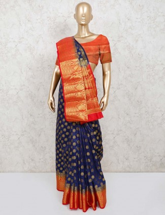 Cotton silk jacquard design saree in navy